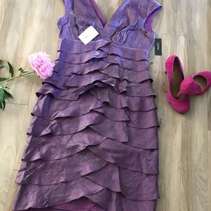Artichoke Skirt Plum Cocktail Dress